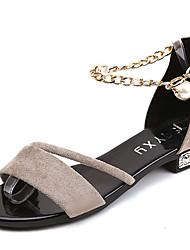 Mujer Zapatos Ante Verano Confort Sandalias Tacón Bajo Dedo redondo Cadena Para Casual Negro Color Camello Verde Oscuro