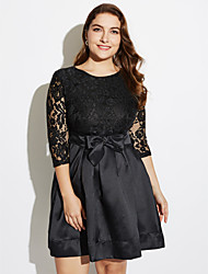 Women's Lace Party/Plus Size Sophisticated Lace/Little Black/Skater Dress,Solid Round Neck Above Knee ¾ Sleeve BlackPolyester/