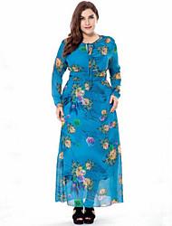 cheap -Women's Plus Size Street chic Swing Dress Print High Rise Maxi V Neck
