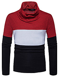 Men's Casual/Daily Simple Regular Pullover,Color Block Cowl Neck Long Sleeves Cotton Fall Winter Medium Stretchy