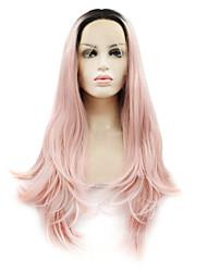 abordables -Cheveux Synthétiques Perruques Ondulation Naturelle Racines foncées Cheveux Colorés Lace Front Perruque Naturelle Long Rose