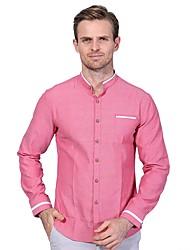 Недорогие -Муж. Большие размеры - Рубашка Тонкие Деловые Однотонный В клетку Хлопок