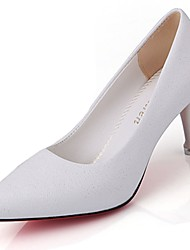 cheap -Women's Shoes Patent Leather Fall Comfort Heels Low Heel Pointed Toe For Outdoor Blushing Pink White