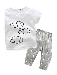 cheap -Baby Unisex Indoor Print Clothing Set, 100% Cotton Autumn/Fall Long Sleeves White