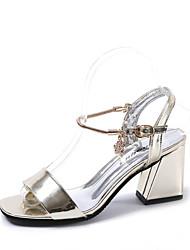 Mujer Zapatos PU Verano Confort Sandalias Tacón Cuadrado Dedo cuadrada Pedrería Para Casual Negro Verde Rosa Color Camello
