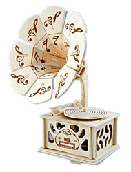 cheap -Music Box Wood Phonograph DIY Castle in the Sky Unisex Gift