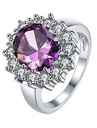 Femme Anneaux Diamant synthétique Zircon cubique Géométrique Mode Personnalisé Le style mignon Bling Bling Zircon Alliage Forme de Fleur