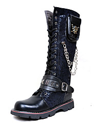 cheap -Men's Shoes Synthetic Winter Fall Combat Boots Motorcycle Boots Fashion Boots Boots Knee High Boots for Casual Party & Evening Black