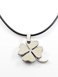 cheap -Men's Women's Pendant Necklace  -  Metallic Hip-Hop Four Leaf Clover Black Necklace For Gift Daily
