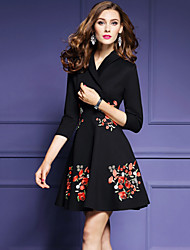 Women's Going out Casual/Daily Plus Size Vintage Street chic Skater Dress,Embroidered V Neck Above Knee 3/4 Length Sleeves Polyester