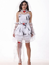 Bat Skeleton/Skull Angel/Devil Zombie Bride Cosplay Costumes Halloween Day of the Dead Festival/Holiday Halloween Costumes White Fashion