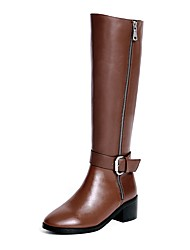 cheap -Women's Shoes Leather Winter Fashion Boots / Riding Boots Boots Chunky Heel Round Toe Knee High Boots Buckle / Zipper for Dress Black /