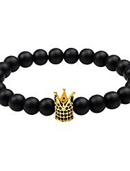 preiswerte -Herrn Damen Strang-Armbänder Obsidian Einstellbar Simple Style Zirkon Kronenform Schmuck Normal Ausgehen Modeschmuck Gold Schwarz Silber