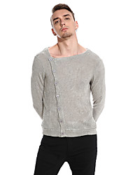 cheap -Men's Daily Casual Regular Pullover,Solid Round Neck Long Sleeves Cotton Winter Fall Medium Stretchy