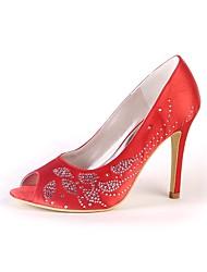 Недорогие -Для женщин Обувь Шёлк Весна Осень Туфли лодочки Свадебная обувь На шпильке Открытый мыс Круглый носок Стразы Назначение Свадьба Для