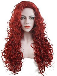 Women Synthetic Wig Capless Long Curly Red Party Wig Celebrity Wig Halloween Wig Cosplay Wig Natural Wigs Costume Wig
