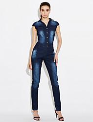 economico -Da donna Skinny Tuta-Moda città Per uscire Casual Tinta unita Jeans Colletto Manica corta A vita medio-alta Poliestere Media elasticità