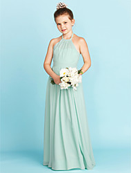 cheap -A-Line Princess Halter Floor Length Chiffon Junior Bridesmaid Dress with Sash / Ribbon Pleats by LAN TING BRIDE®