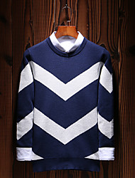 preiswerte -Herren Standard Pullover-Lässig/Alltäglich Übergröße Einfach Boho Street Schick Solide Gestreift Einfarbig Rundhalsausschnitt Langarm