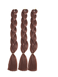 "cheap -3 Pieces Jumbo Hair Braid 24"" 100% kanekalon Synthetic Hair Medium Brown Yellow Green Blue White Braiding Hair"