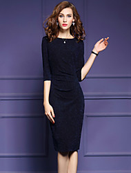 Women's Plus Size Going out Simple Bodycon DressSolid Patchwork Round Neck Knee-length Half Sleeves Cotton Polyester Fall Mid Rise