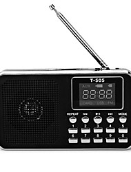 T-505 Radio portatil Reproductor MP3 Linterna Tarjeta TFWorld ReceiverNegro