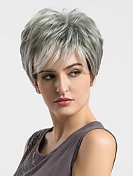 Women Human Hair Capless Wigs Grey Straight Highlighted/Balayage Hair