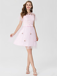 A-Line Jewel Neck Short / Mini Lace Satin Tulle Cocktail Party Dress with Appliques Bow(s) Sash / Ribbon by TS Couture®