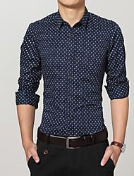 cheap -Men's Daily Work Casual All Seasons Shirt,Print Shirt Collar Long Sleeves Cotton Medium