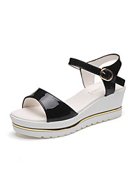 Damen Schuhe PU Sommer Komfort Sandalen Keilabsatz Für Weiß Schwarz Beige