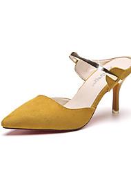 preiswerte -Damen Schuhe PU Frühling Sommer Komfort Pumps High Heels Stöckelabsatz Spitze Zehe Für Kleid Party & Festivität Schwarz Gelb Mandelfarben