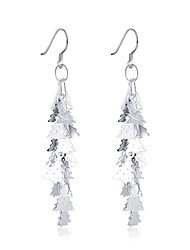 cheap -Women's Drop Earrings / Hoop Earrings - Silver Plated Leaf Classic, Fashion Silver For Christmas / Evening Party