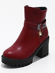 Women's Shoes Leatherette Fall Winter Fashion Boots Bootie Combat Boots Boots Chunky Heel Platform Round Toe Imitation Pearl Buckle Zipper
