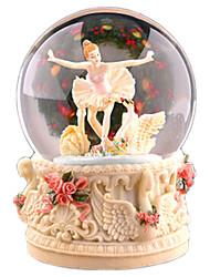 abordables -Balles Boîte à musique Boule à neige Cygne Dessin Animé Adultes Enfants Cadeau Cristal Unisexe