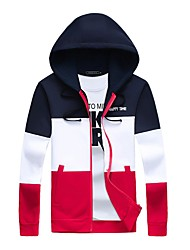 Men's Daily Plus Size Casual Hoodie Print Color Block Hooded Micro-elastic Cotton Spandex Long Sleeve Winter Fall