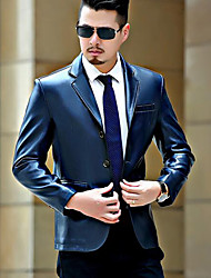 cheap -Men's Daily Simple Casual Winter Leather Jacket,Solid Peaked Lapel Long Sleeve Regular PU
