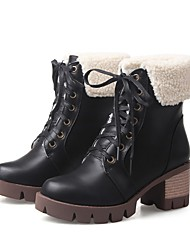 cheap -Women's Boots Fluff Lining Fashion Boots Winter Leatherette Casual Dress Lace-up Chunky Heel Almond Green Orange Black 2in-2 3/4in