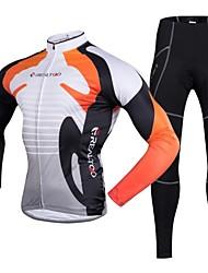 economico -Realtoo Maglia con pantaloni da ciclismo Per uomo Manica lunga Bicicletta Set di vestiti Asciugatura rapida Pad 3D Poliestere 100%