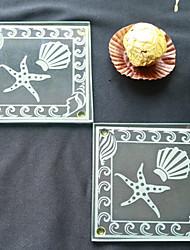 Coasters de vidro de tema de praia - 2pcs / box - favores de casamento beter gifts®