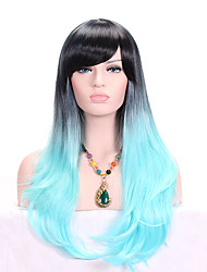 cheap -Women Synthetic Wig Capless Long Wavy Black/Blue Ombre Hair Dark Roots With Bangs Cosplay Wig Costume Wig