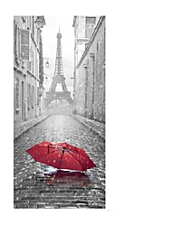 cheap -3D Eiffel Tower Door Mural Sticker Wet Umbrella By Rain Stickers Decorative 3D Door Mural Decal Large Size 77*200cm Building Home Decoration