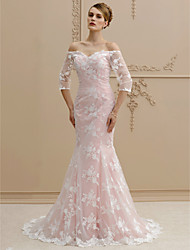 cheap -Mermaid / Trumpet Off-the-shoulder Sweep / Brush Train Lace Wedding Dress with Buttons by LAN TING BRIDE®