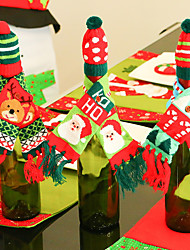 3PCS Knitting Christmas Hat Scarf Red Wine Bottle Christmas Decorations Fashion Festival Gift Decor Supply