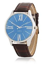 Men's Dress Watch Fashion Watch Wrist watch Chinese Quartz Large Dial PU Band Luxury Elegant Casual Black Brown