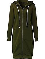 cheap -Women's Long Sleeves Long Hoodie - Solid