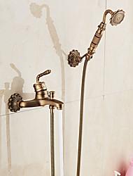 abordables -Grifo de bañera Cobre Envejecido Conjunto Central Sola manija Dos Agujeros