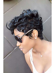 cheap -Synthetic Wig Curly / Jerry Curl Synthetic Hair African American Wig Black Wig Women's Short Natural Wigs Capless