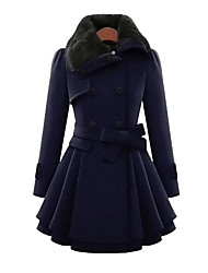 Women's Casual/Daily Simple Fall Winter Coat,Solid Peter Pan Collar Long Sleeve Long Cotton