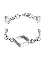 cheap -Women's Girls' Chain Bracelet Crystal Geometric Friendship Fashion Simple Style Crystal Silver Plated Square Geometric Jewelry For