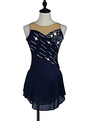 Robe de Patinage Artistique Femme Fille Patinage Robes Bleu Bleu Marine Strass Extensible Utilisation Tenue de Patinage Fait à la main